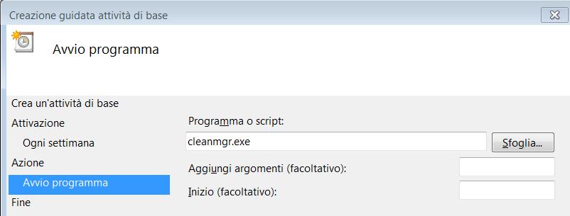 Impostare Pulizia Disco come cleanmgr.exe