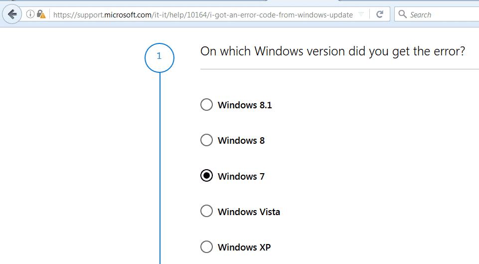 Seleziona sistema operativo per risolvere errori di Windows Update