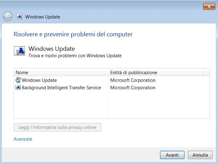 Strumento risoluzione problemi Windows Update - schermata di avvio
