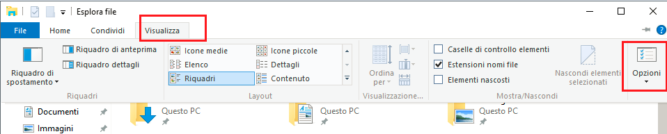 Visualizza Opzioni in Esplora File in Windows 10