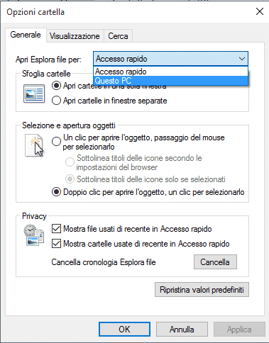 Voce Accesso Rapido in Esplora File in Windows 10