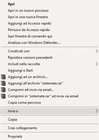 Voce Invia a In Menu Contestuale Windows 10