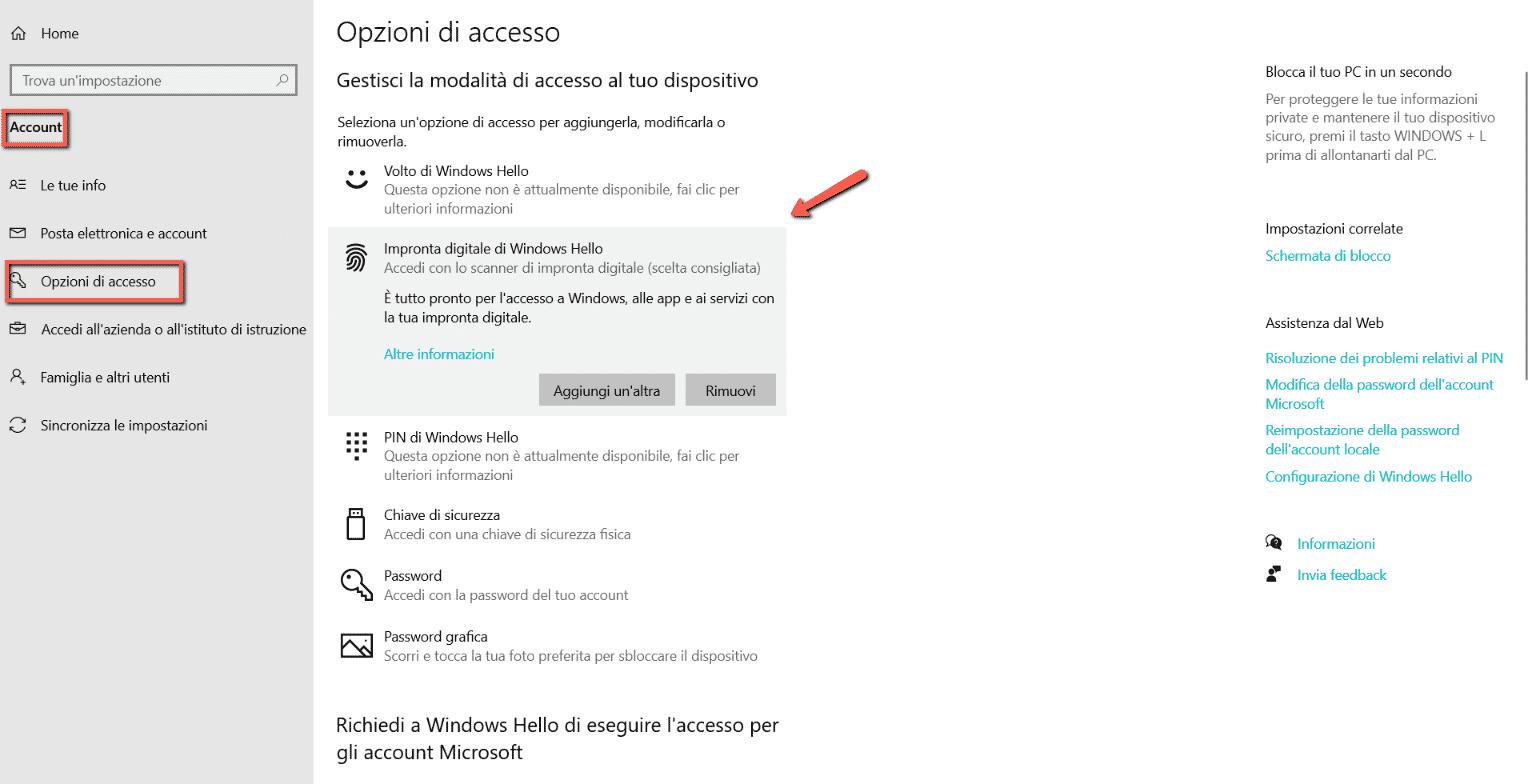 opzione-di-accesso-con-impronta-windows-10