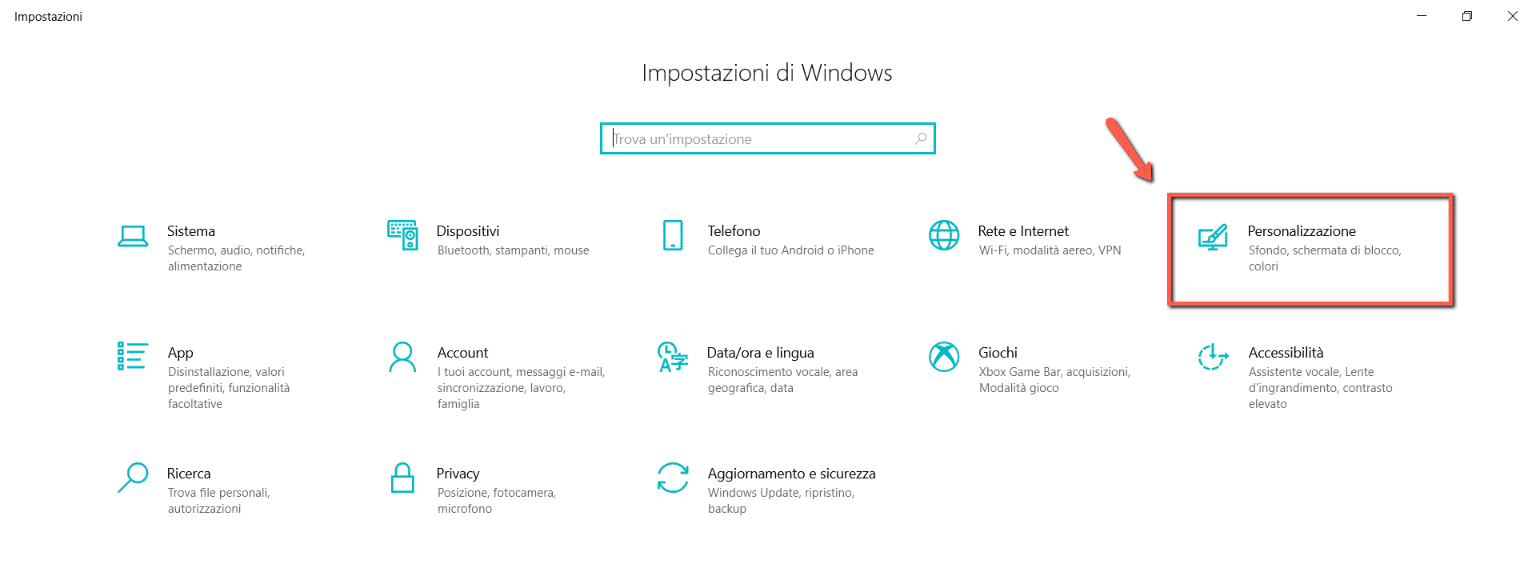schermata-impostazioni-windows-sezione-personalizzazione